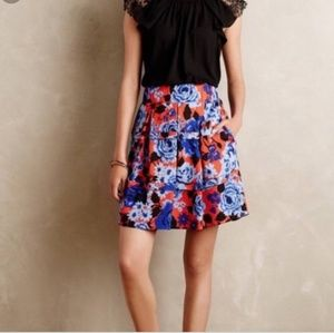 Anthropologie HD in Paris Red Blue Floral Skirt M